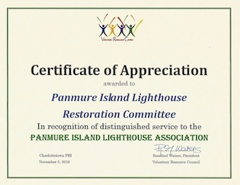 Panmure Island Lighthouse Volunteer Awards
